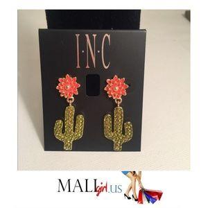 Cactus and Flower Rhinestone Drop Earrings